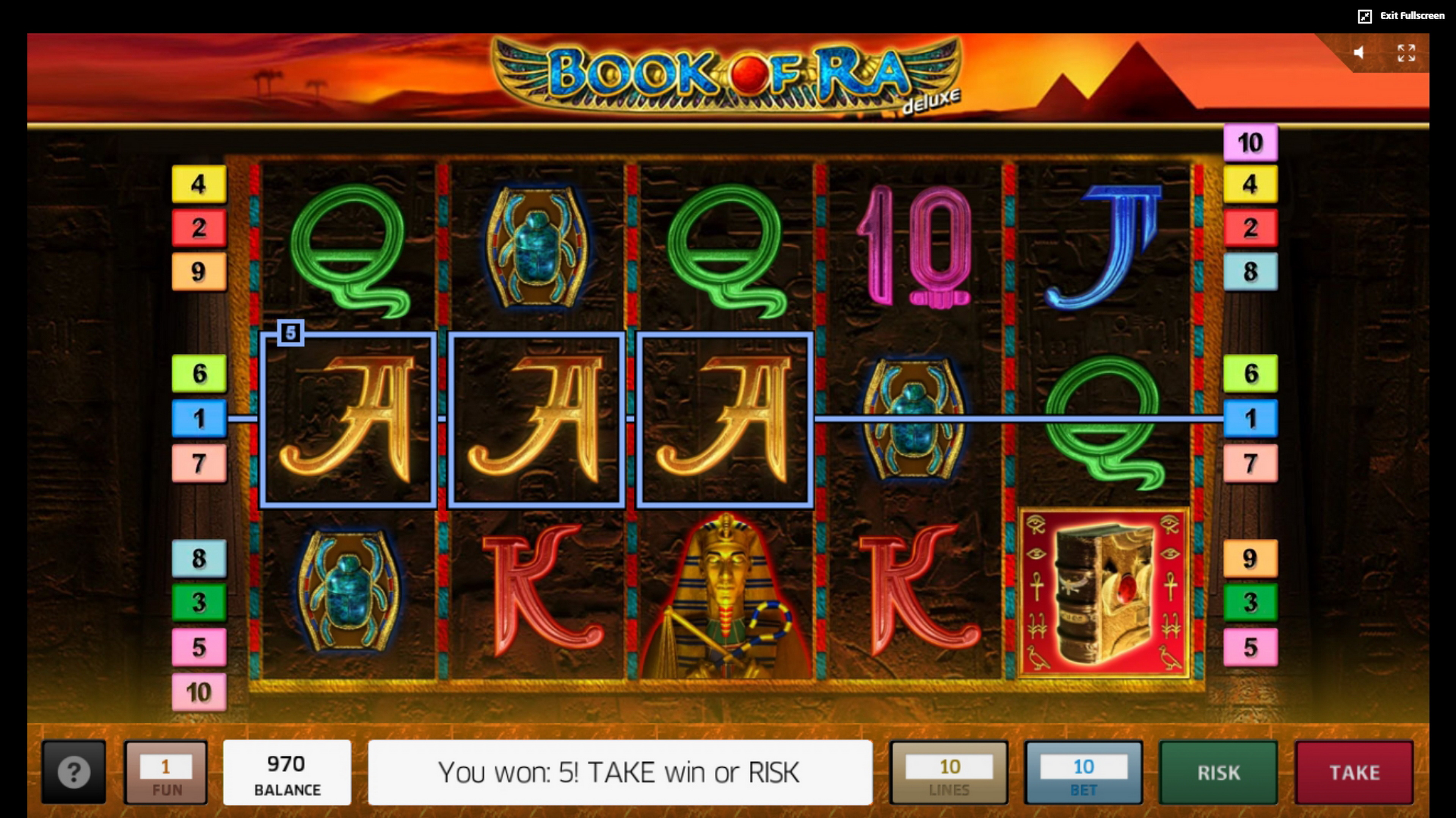 Win Money in Book of Ra Free Slot Game by Greentube