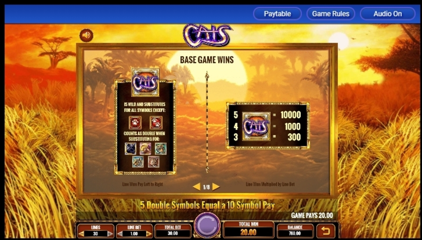 Info of Cats Slot Game by IGT