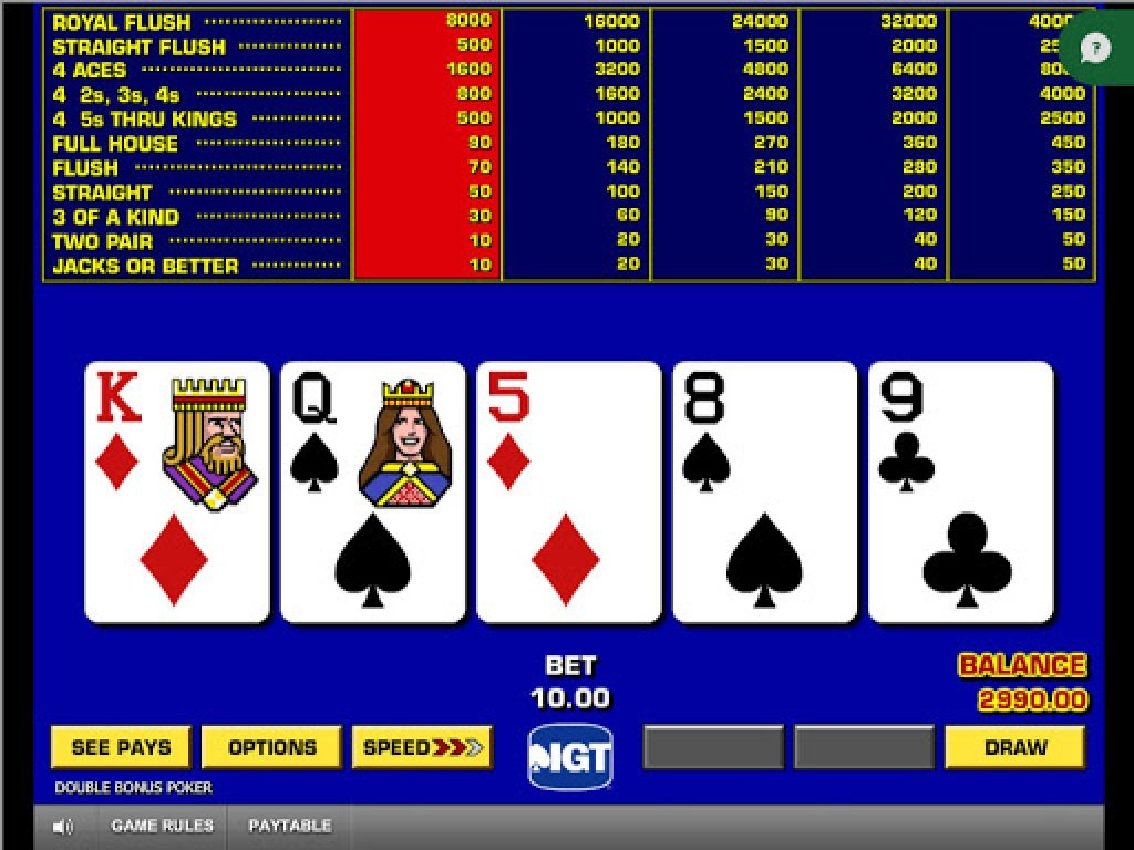 The Game King Video Poker Online Slot Demo Game by IGT
