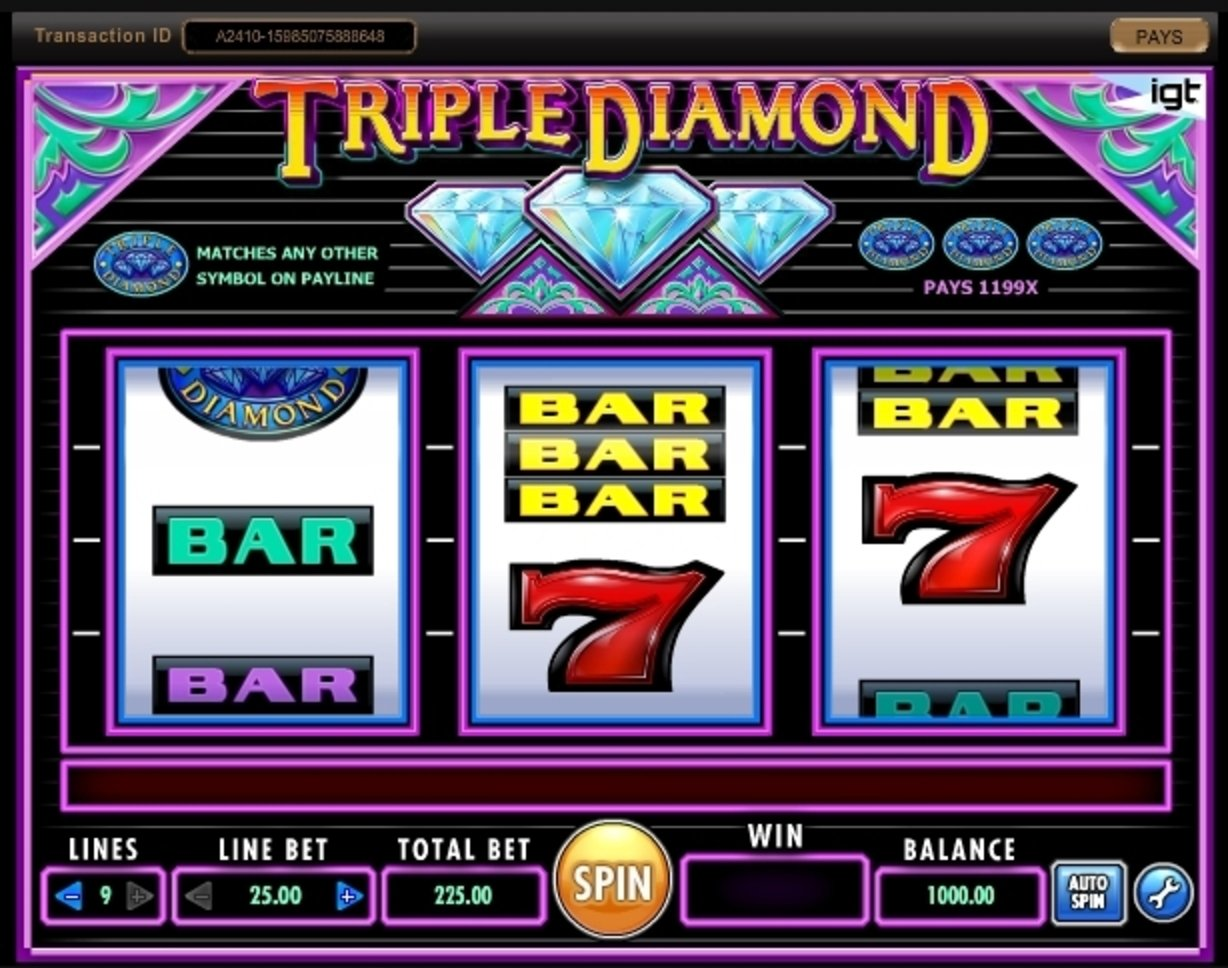 Reels in Triple Diamond Slot Game by IGT