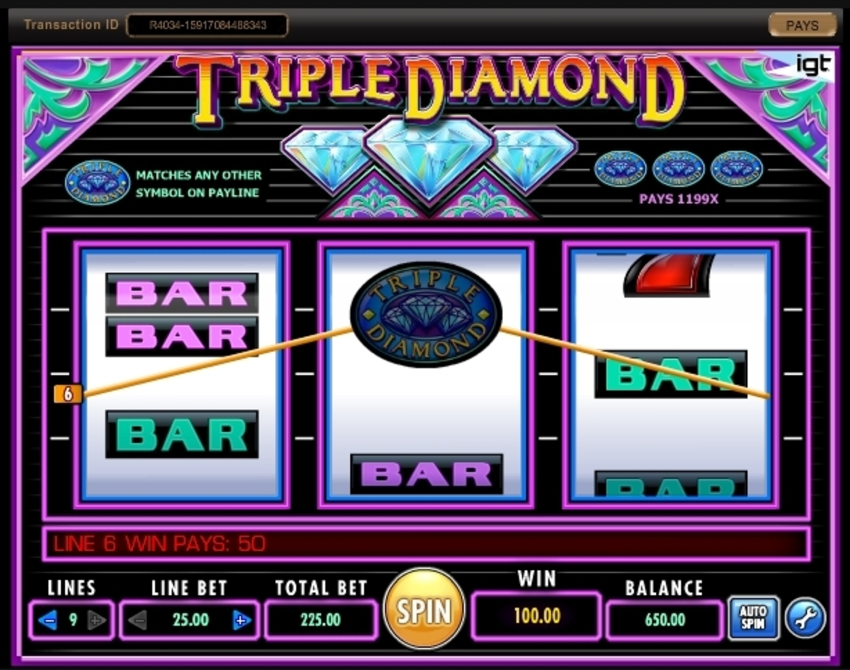 Win Money in Triple Diamond Free Slot Game by IGT