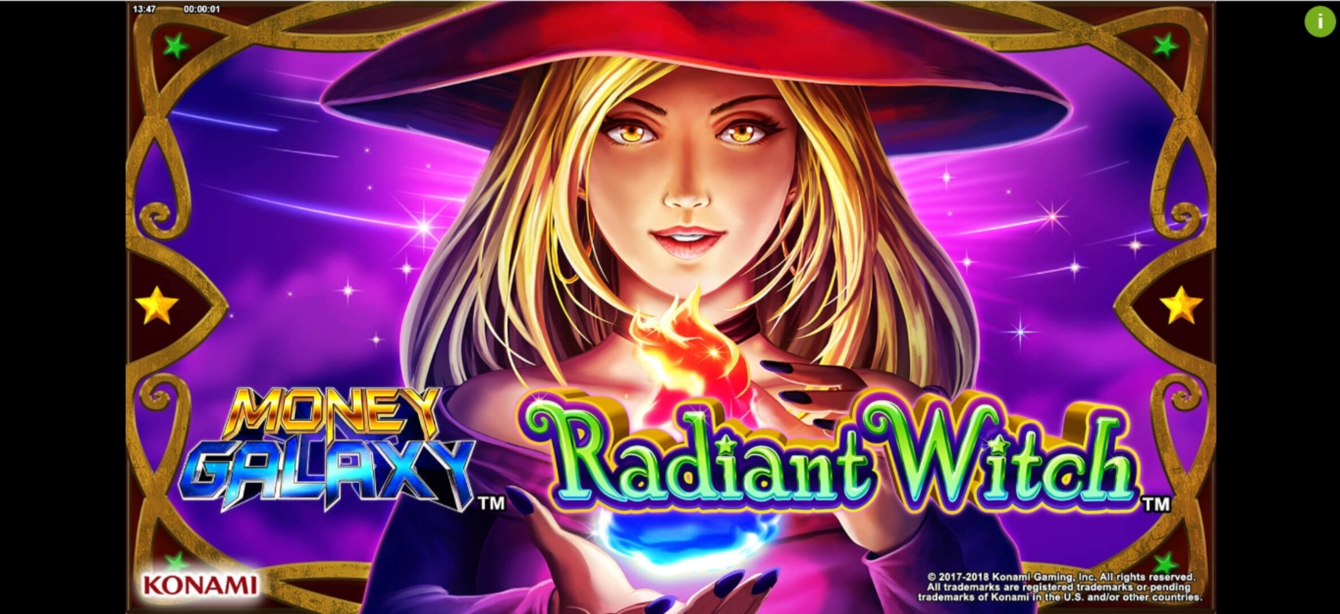 Play Money Galaxy Radiant Witch Free Casino Slot Game by Konami Gaming