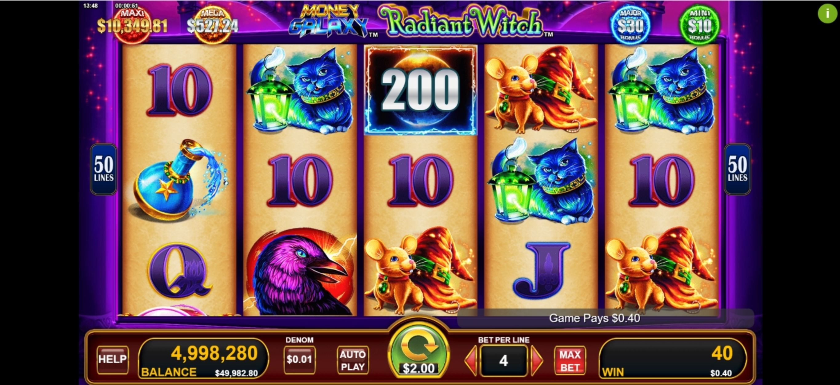 Win Money in Money Galaxy Radiant Witch Free Slot Game by Konami Gaming