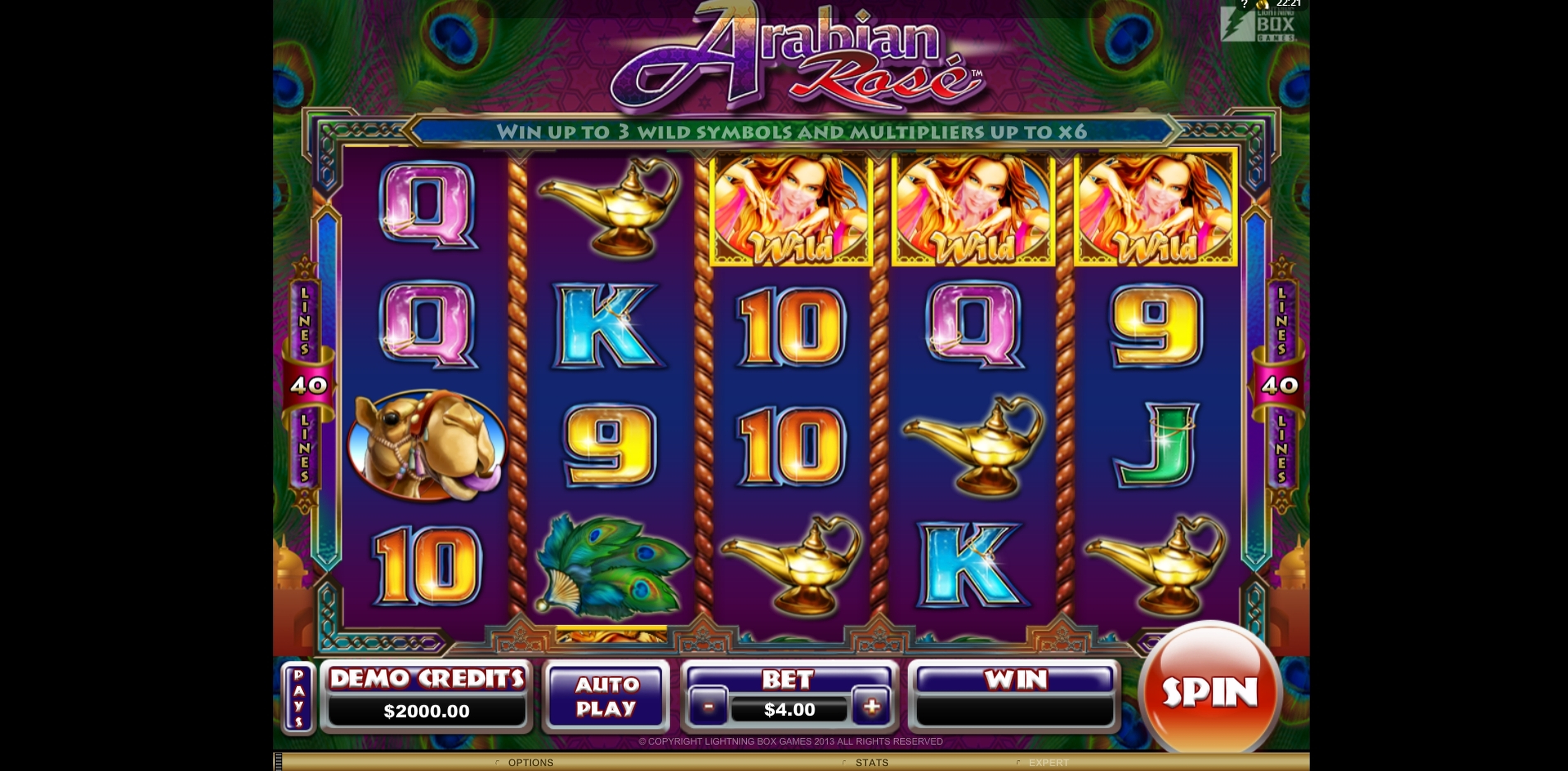 Reels in Arabian Rose Slot Game by Lightning Box