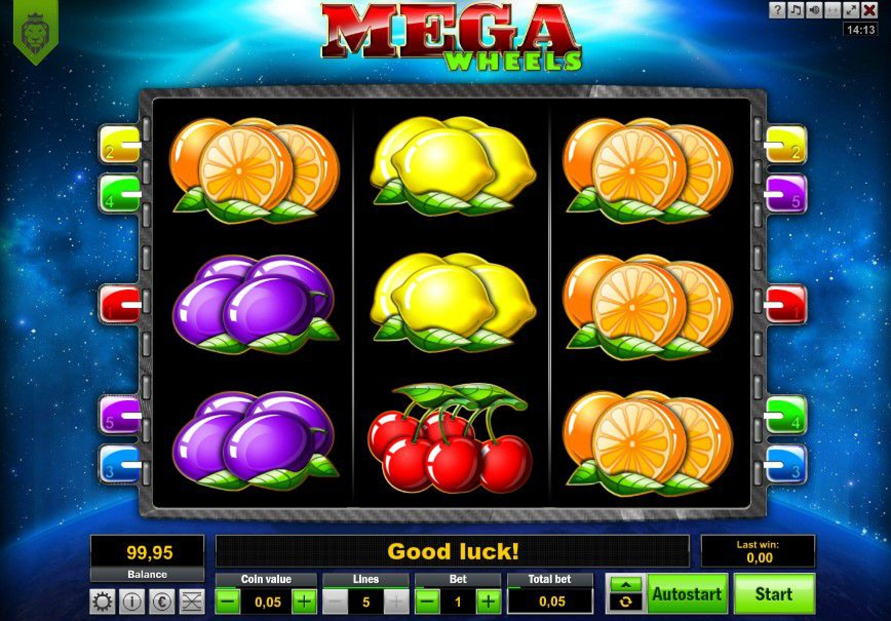 Reels in Mega Wheels Slot Game by LionLine