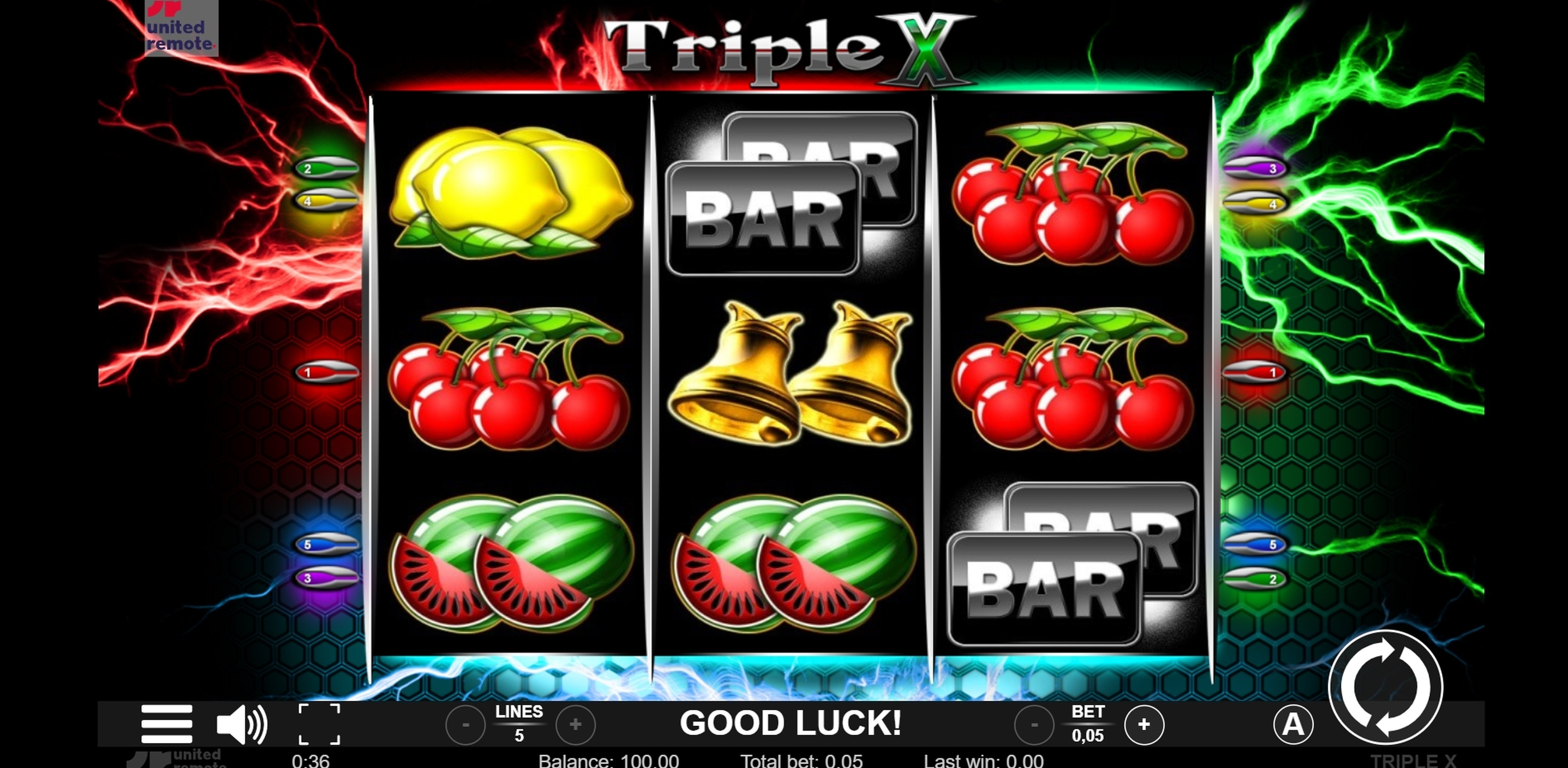 Reels in Triple X Slot Game by Lionline