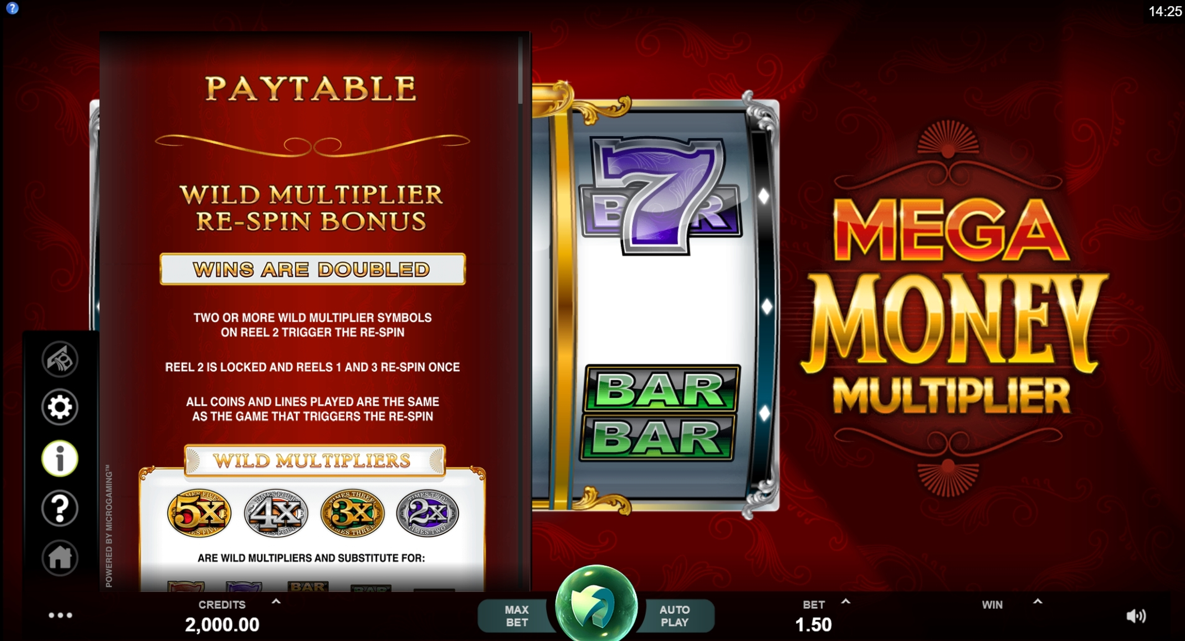 Info of Mega Money Multiplier Slot Game by MahiGaming