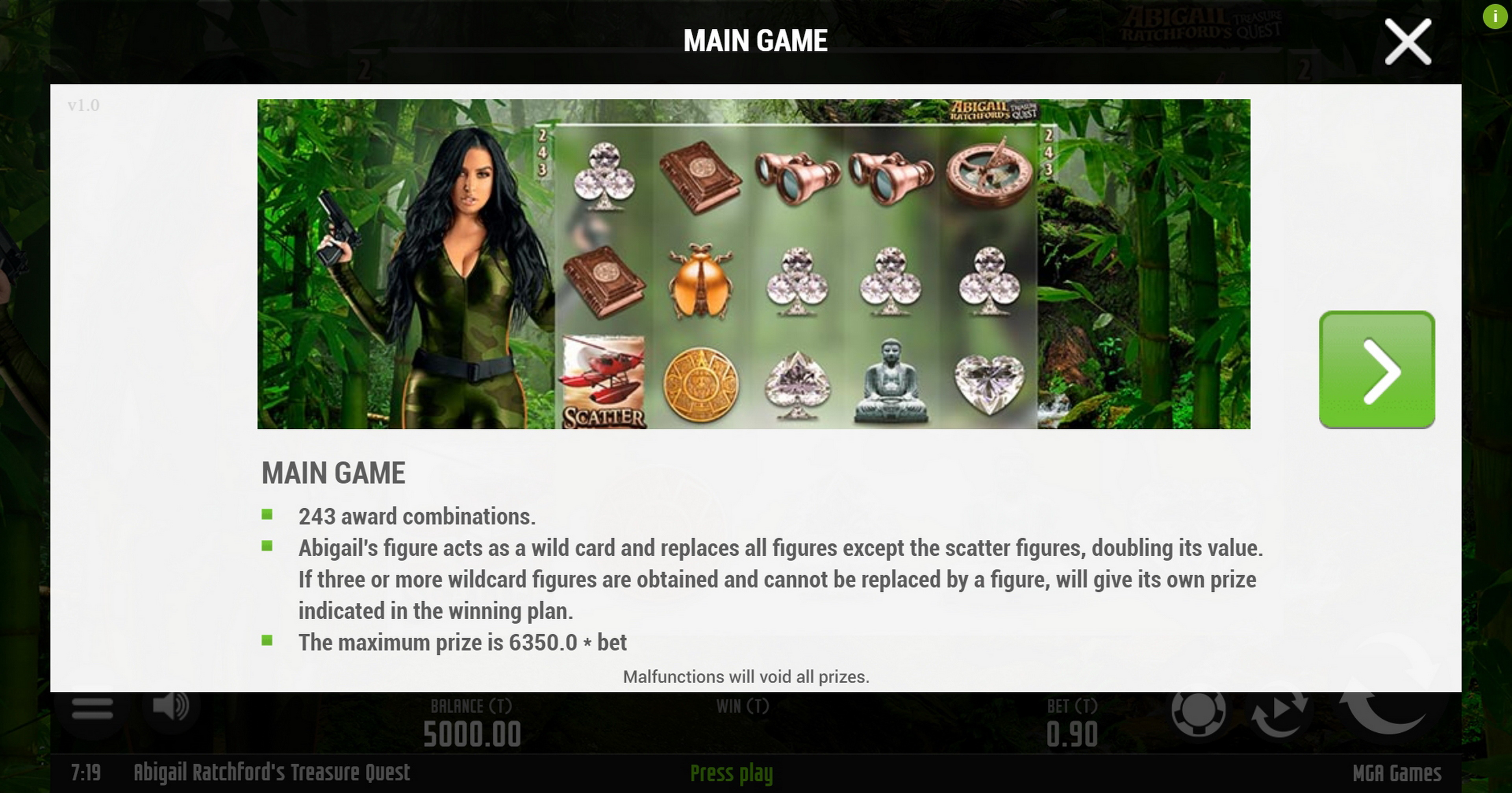 Info of Abigail Ratchfords Treasure Quest Slot Game by MGA