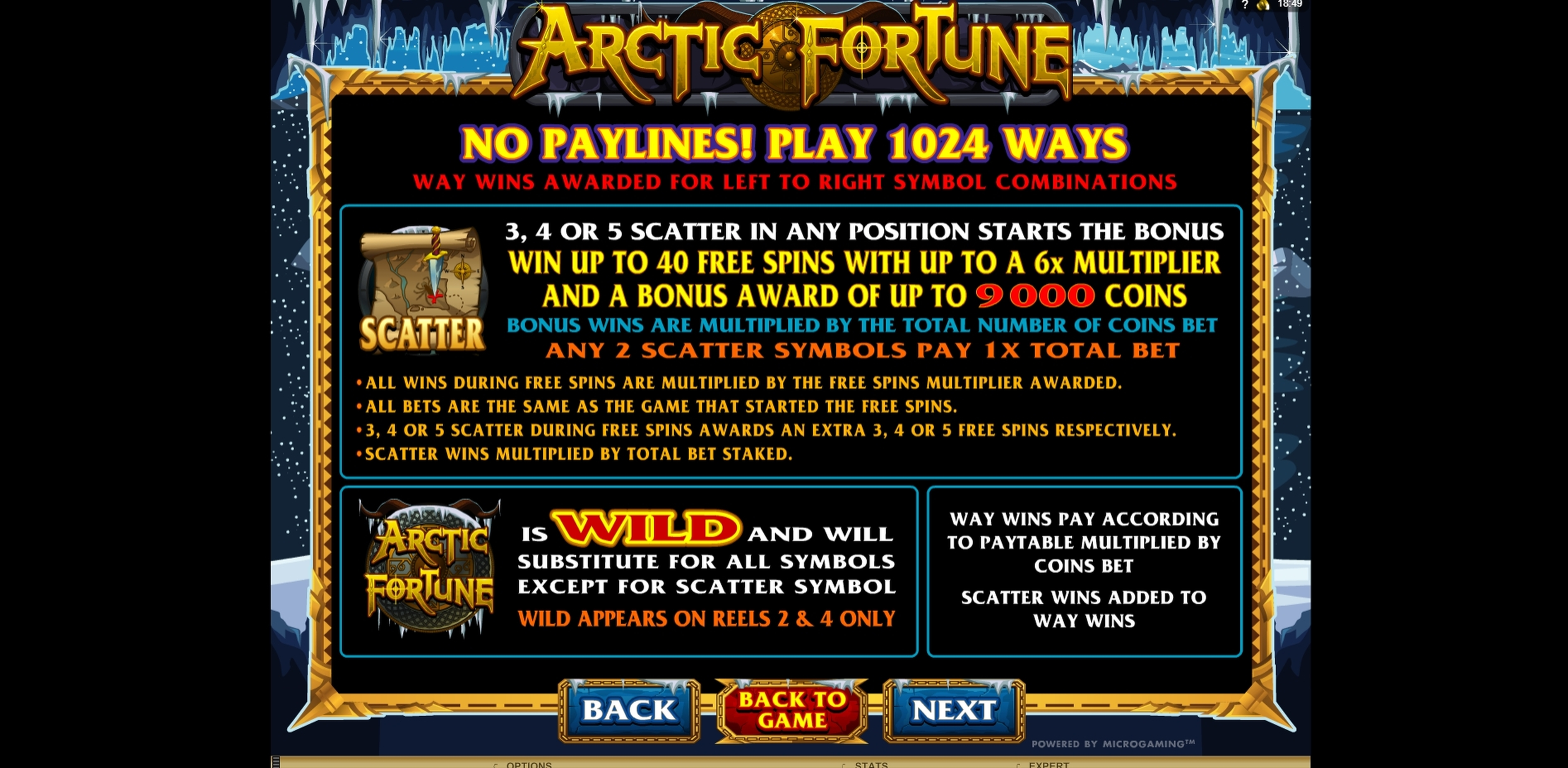 Info of Arctic Fortune Slot Game by Microgaming
