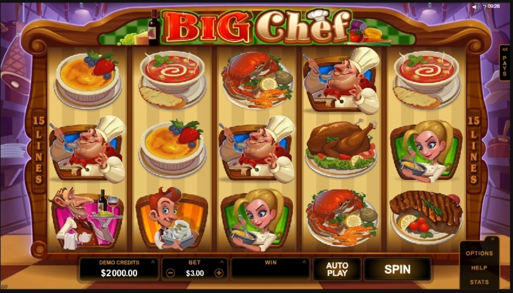 Reels in Big Chef Slot Game by Microgaming
