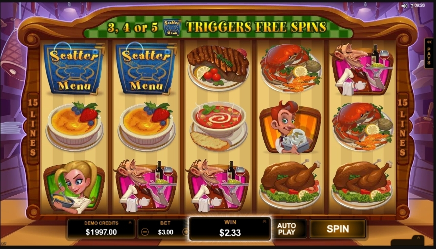 Win Money in Big Chef Free Slot Game by Microgaming