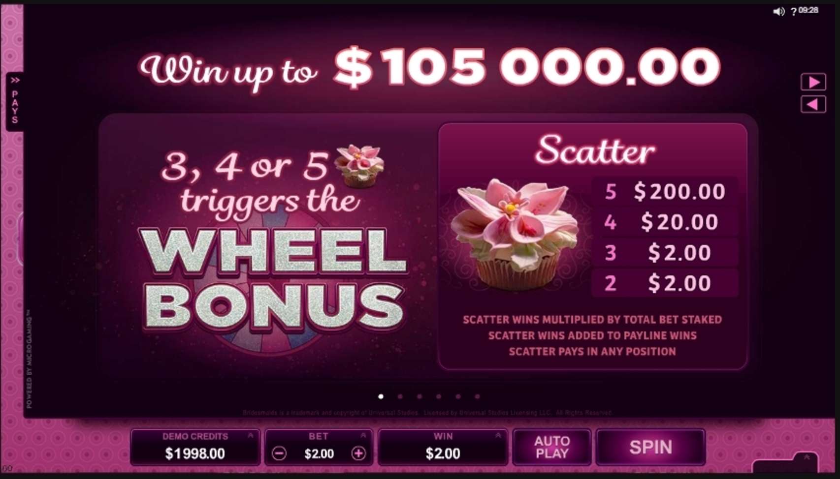 Info of Bridesmaids Slot Game by Microgaming