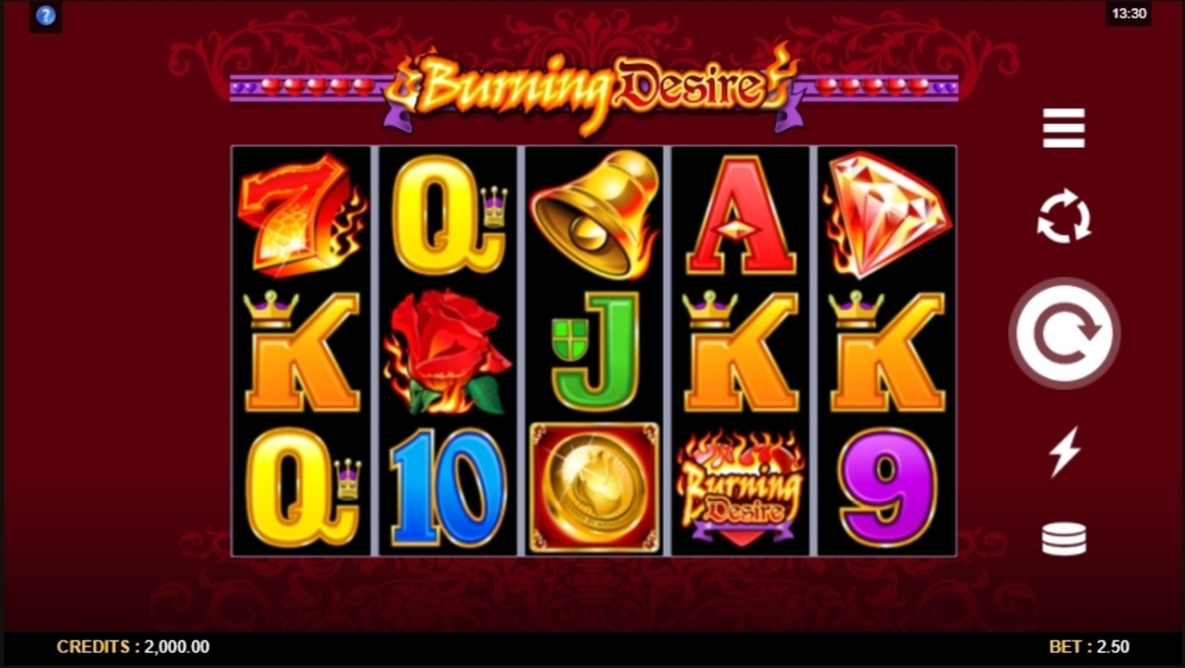 Reels in Burning Desire Slot Game by Microgaming