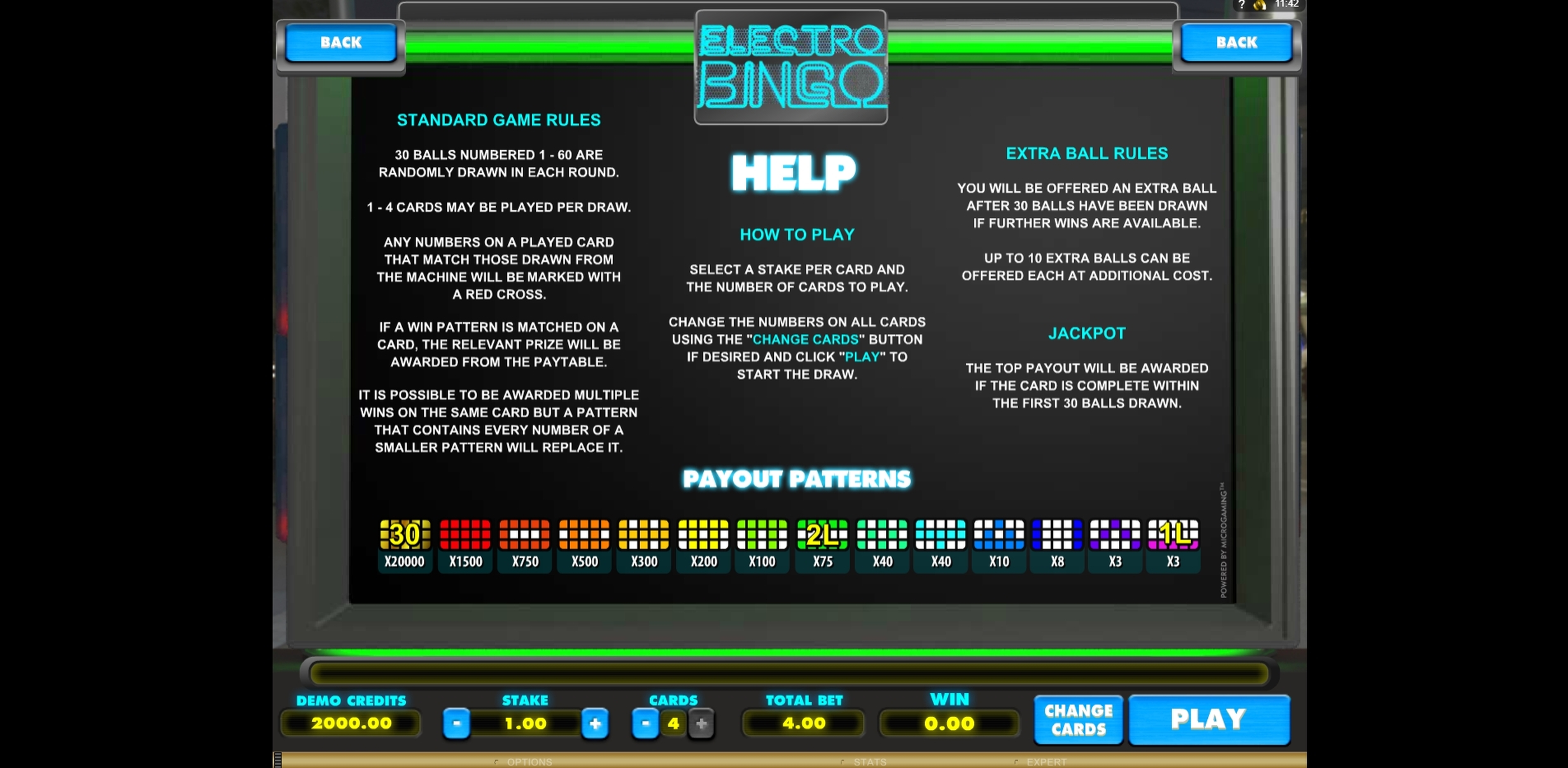 Info of Electro Bingo Slot Game by Microgaming