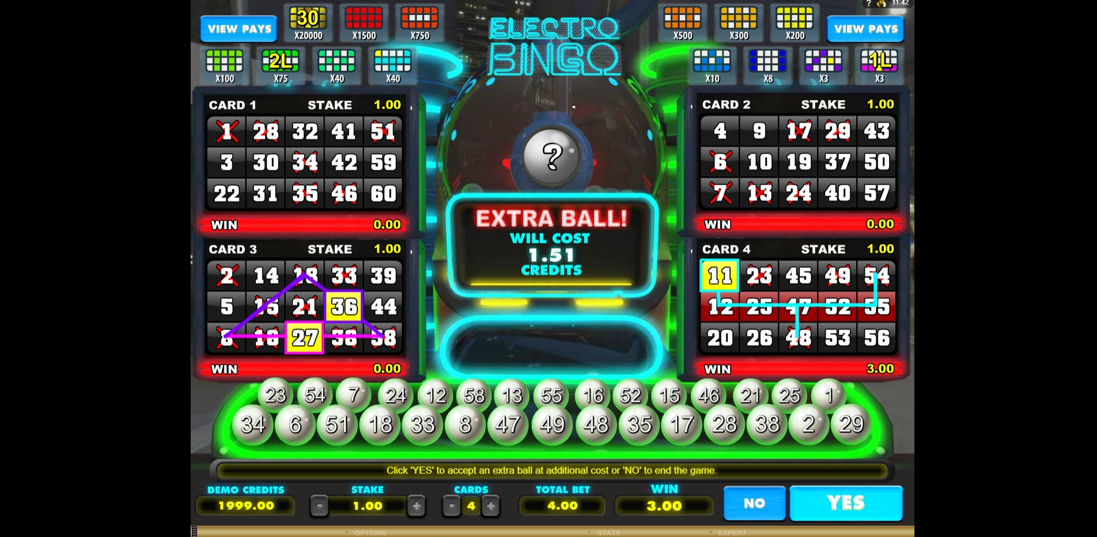 Win Money in Electro Bingo Free Slot Game by Microgaming