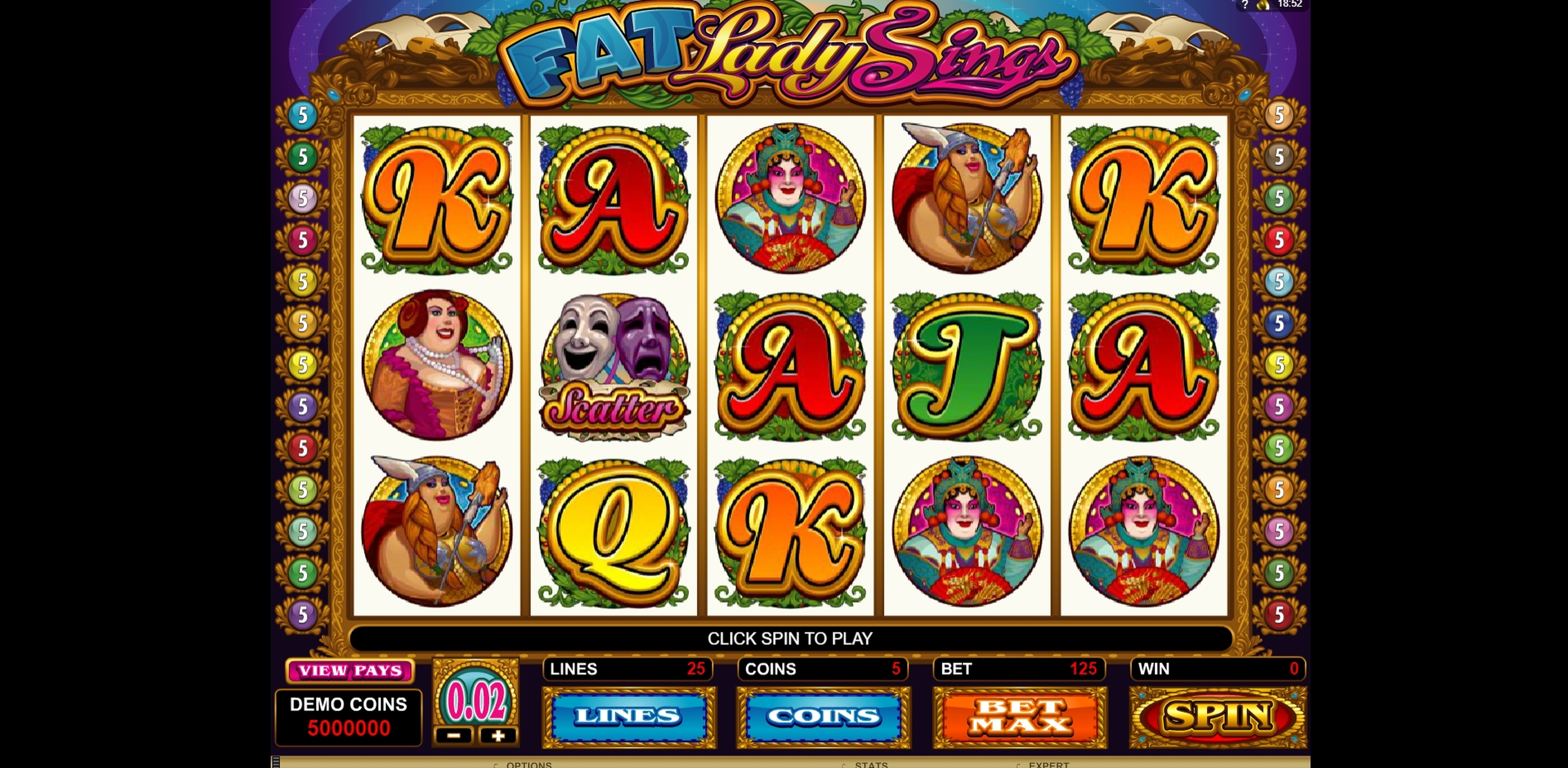 Reels in Fat Lady Sings Slot Game by Microgaming