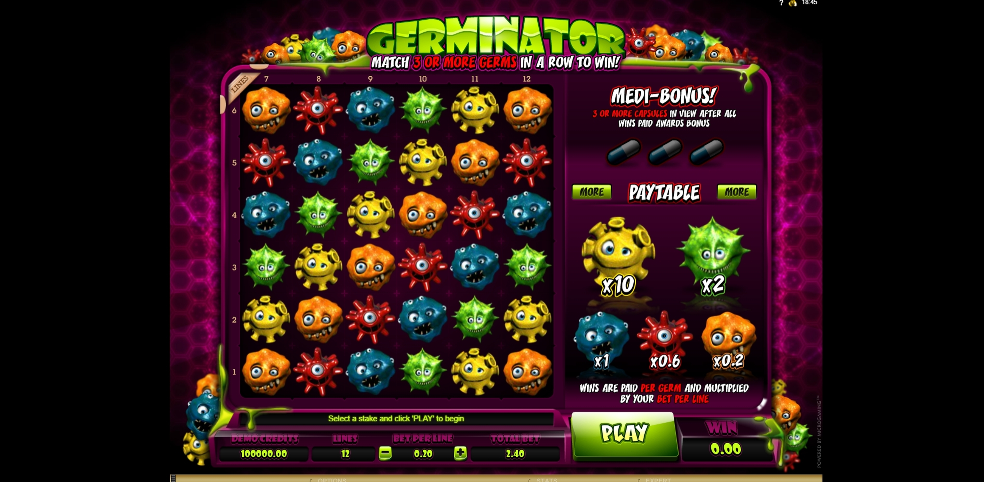Reels in Germinator Slot Game by Microgaming