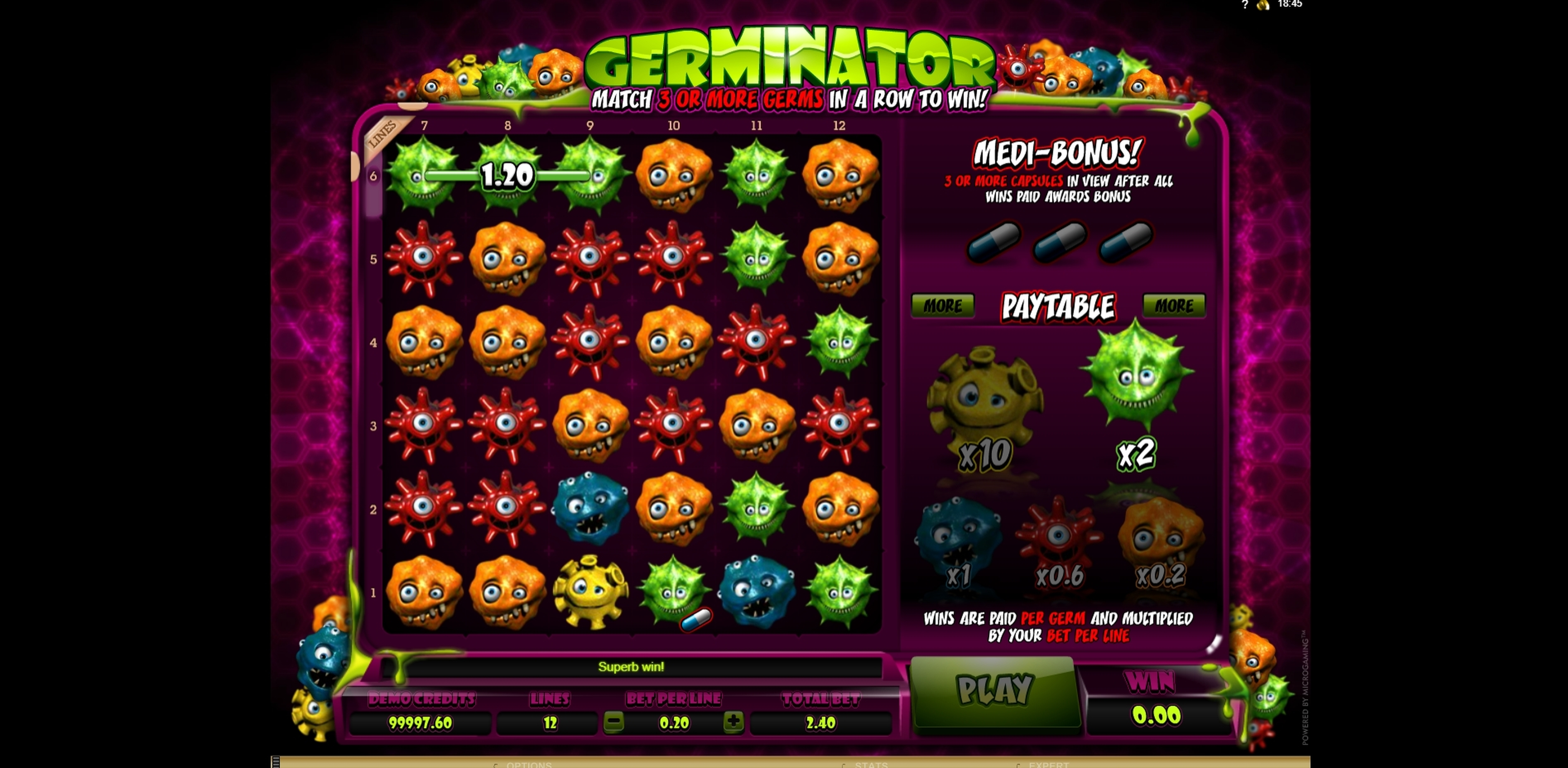 Win Money in Germinator Free Slot Game by Microgaming