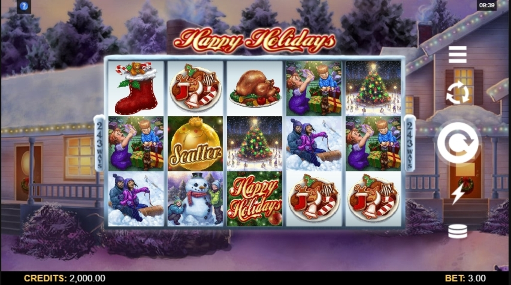 Reels in Happy Holidays Slot Game by Microgaming