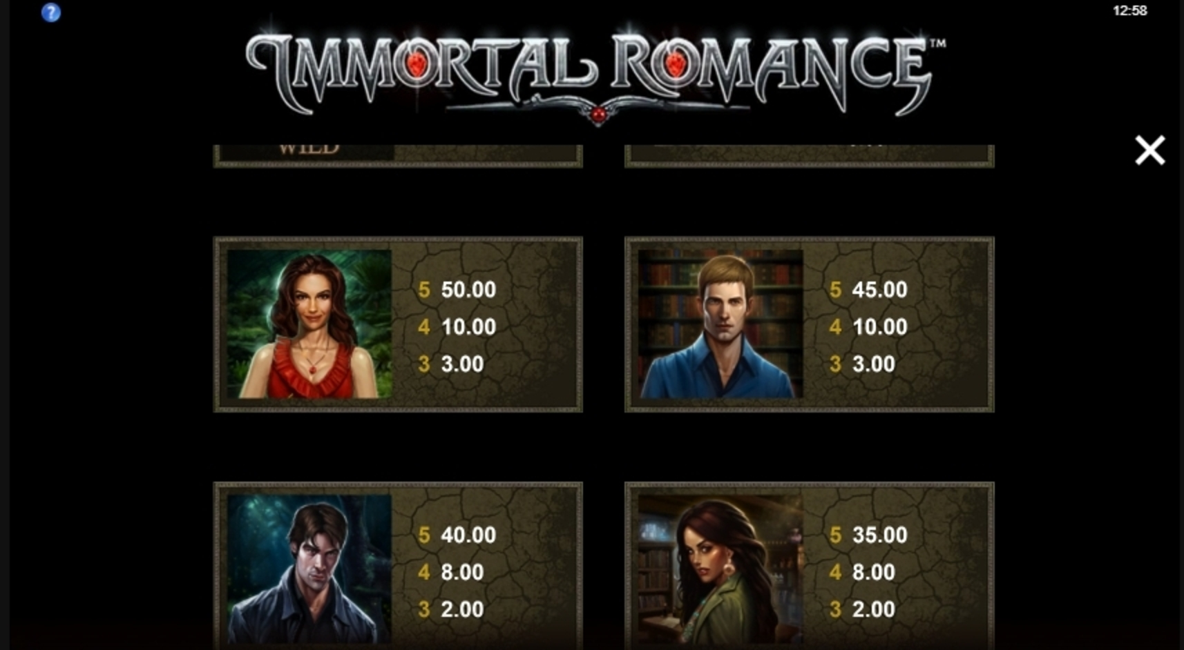 Info of Immortal Romance Slot Game by Microgaming