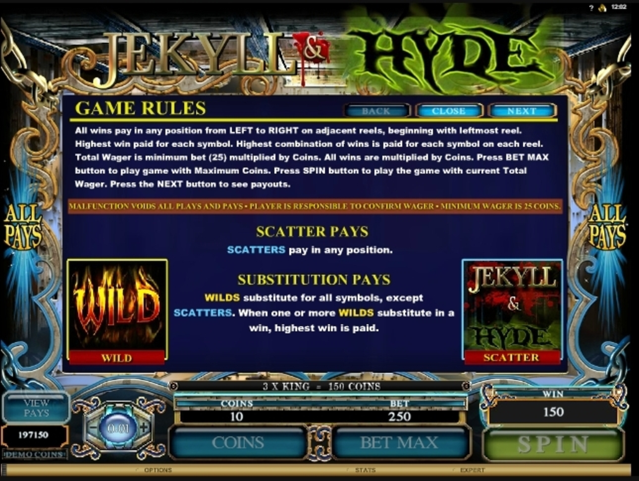 Info of Jekyll And Hyde (Microgaming) Slot Game by Microgaming