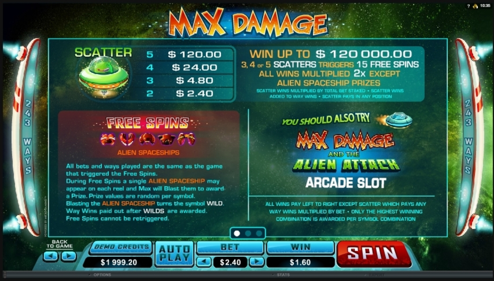 Info of Max Damage Slot Game by Microgaming