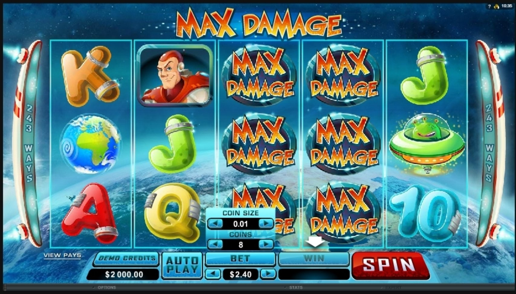 Reels in Max Damage Slot Game by Microgaming