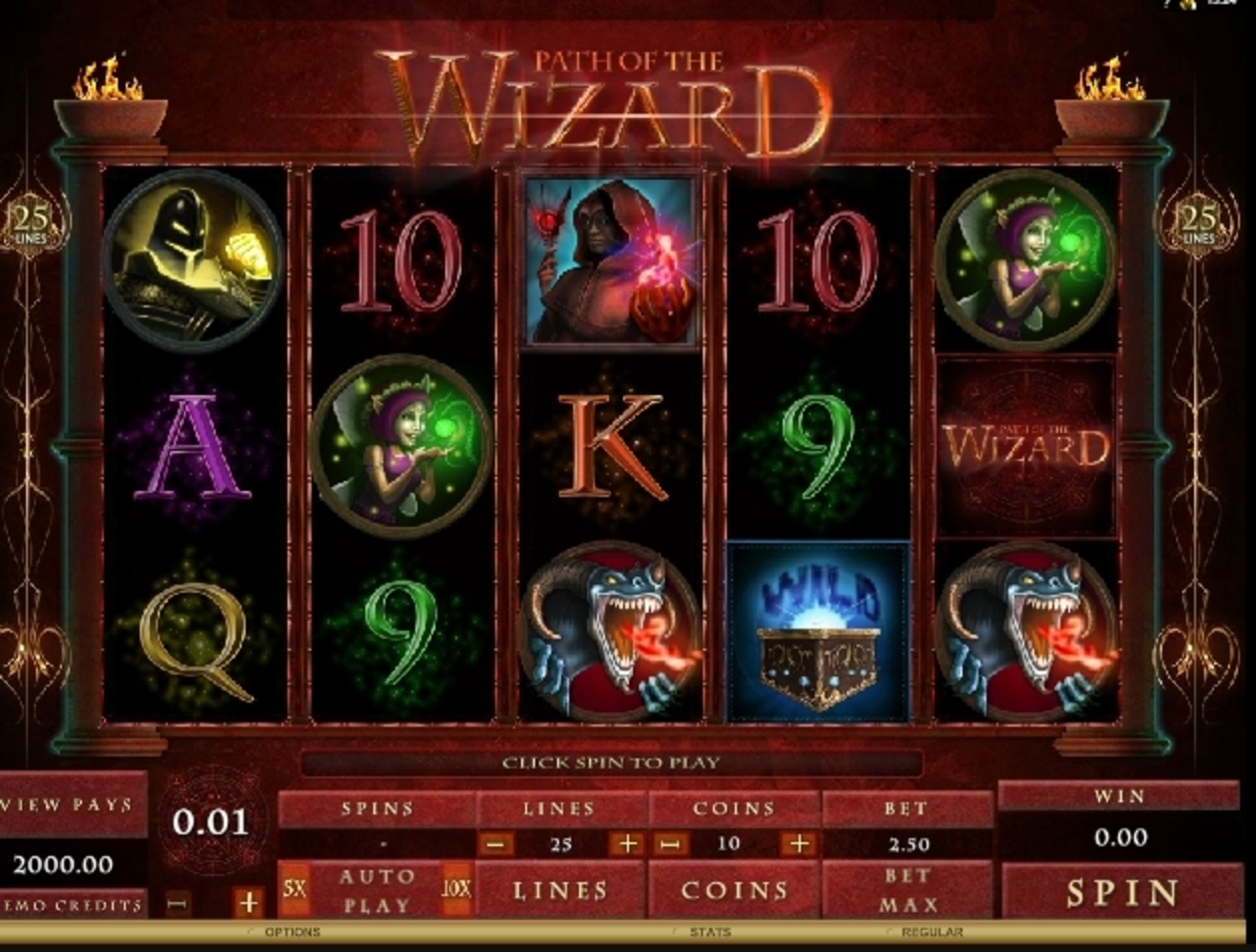 Reels in Path of the Wizard Slot Game by Microgaming