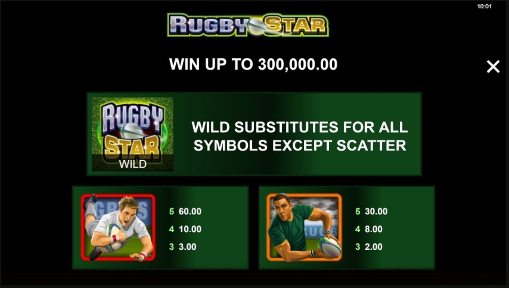 Info of Rugby Star Slot Game by Microgaming