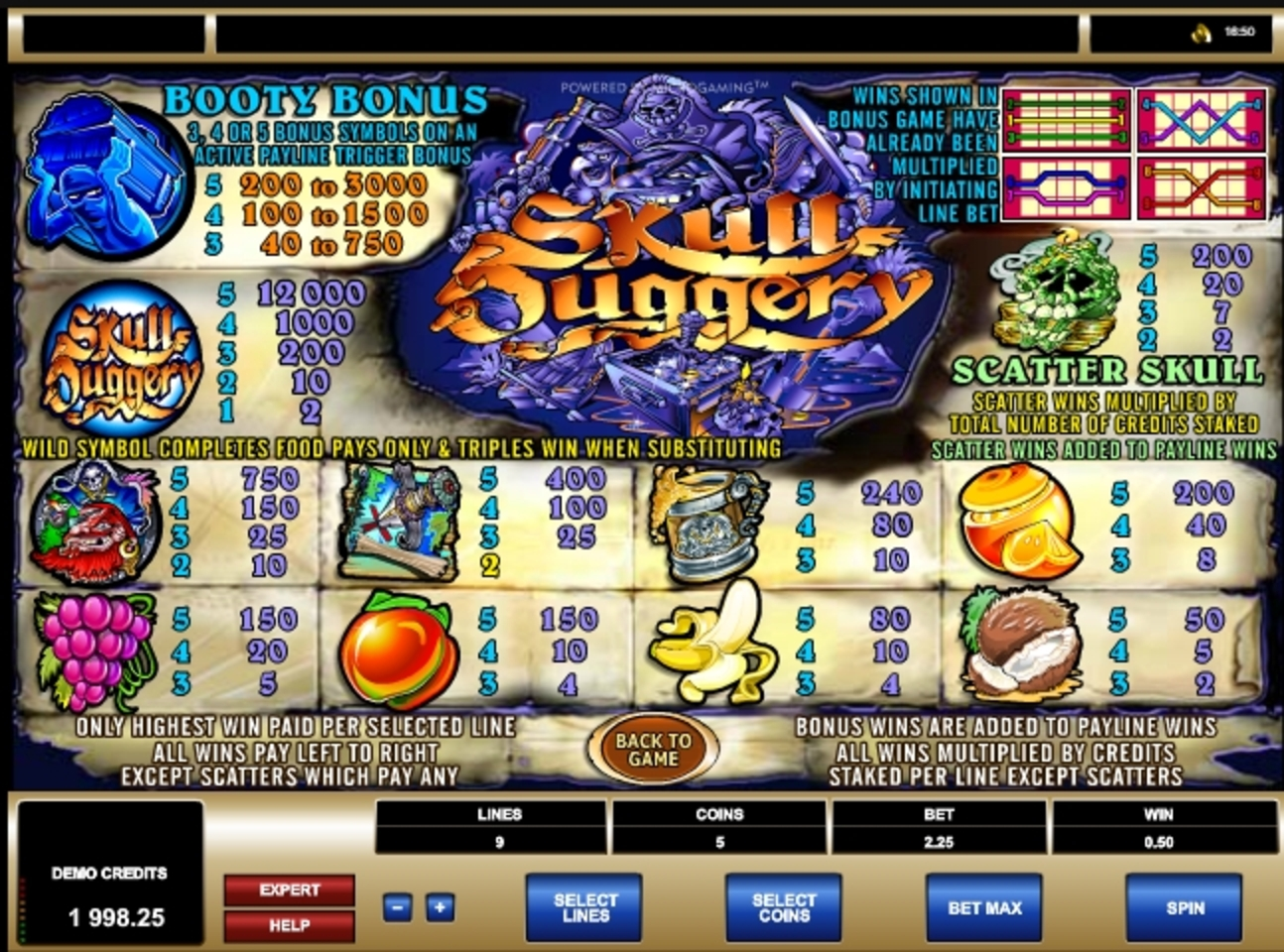 Info of Skull Duggery Slot Game by Microgaming