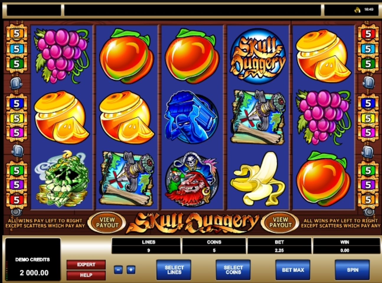 Reels in Skull Duggery Slot Game by Microgaming