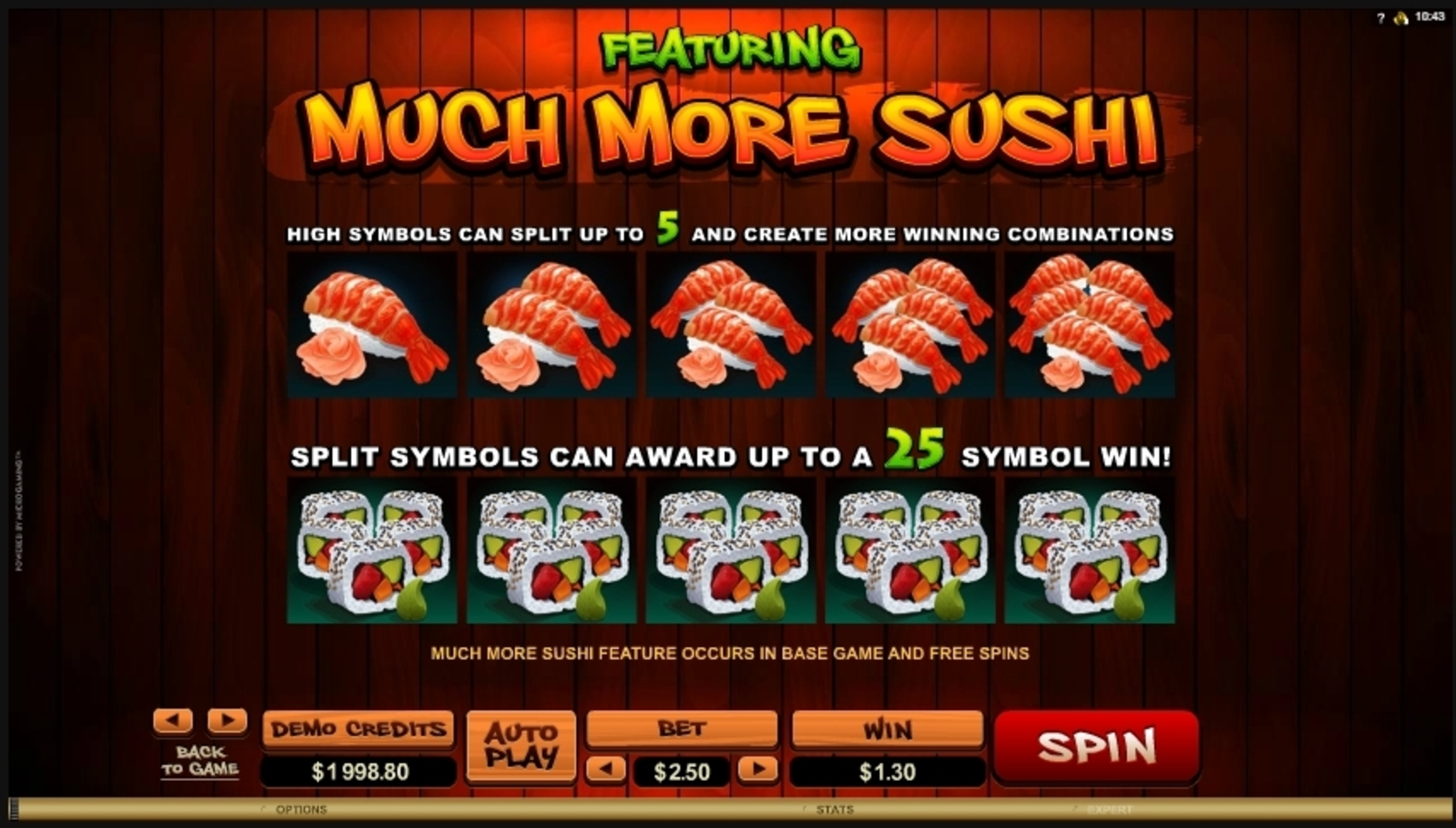 Info of So Much Sushi Slot Game by Microgaming