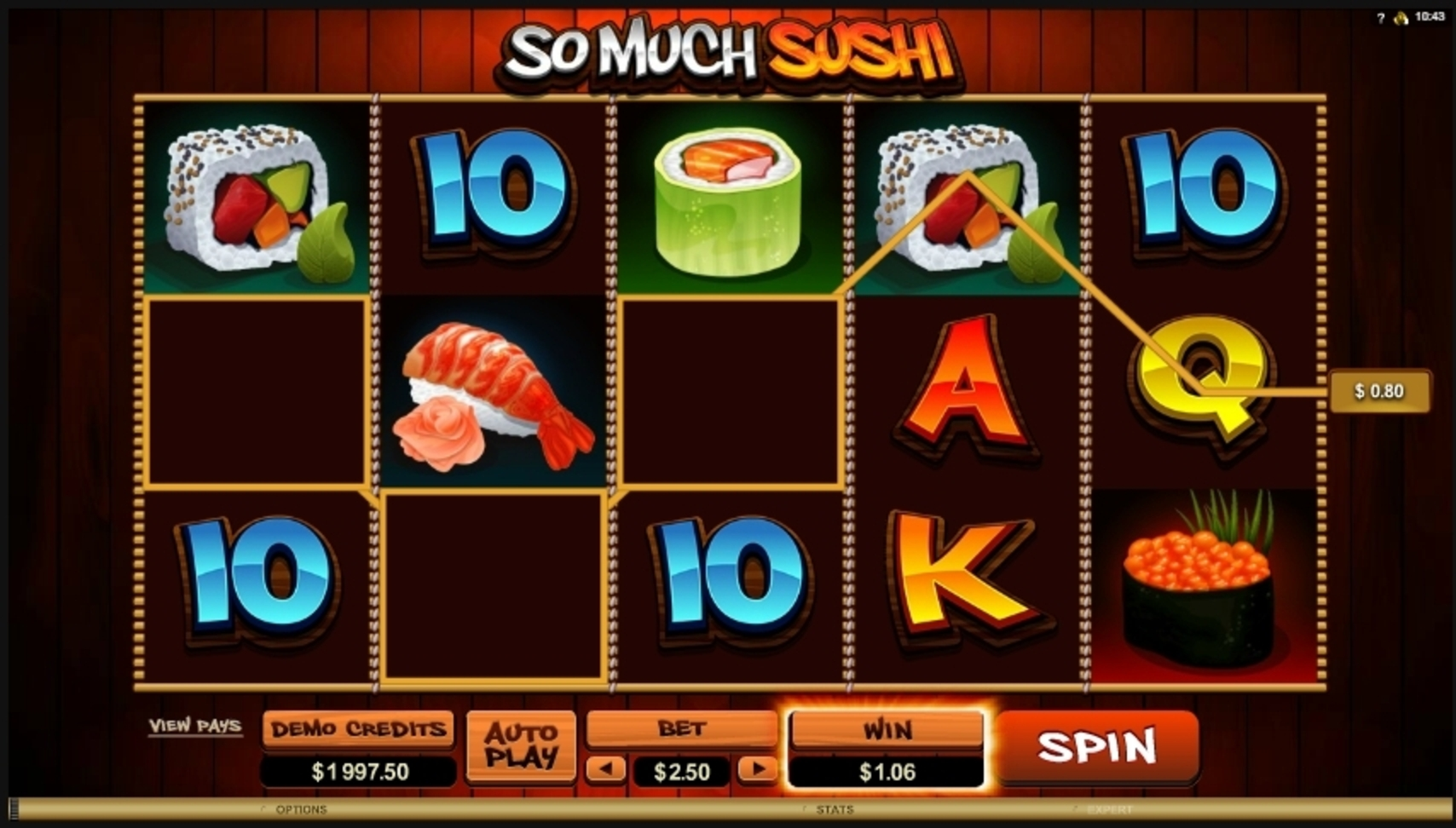 Win Money in So Much Sushi Free Slot Game by Microgaming