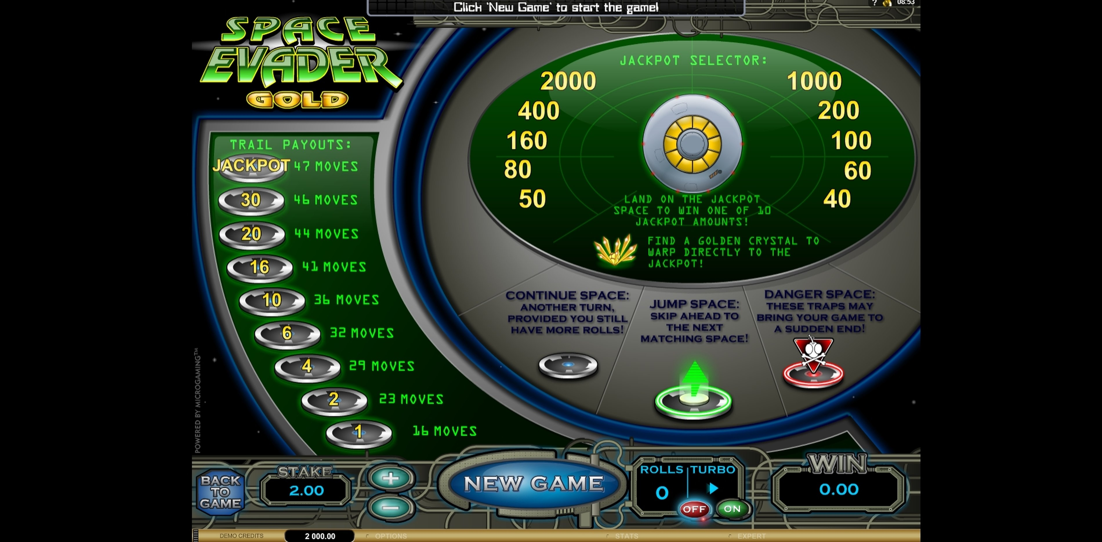Info of Space Evader Gold Slot Game by Microgaming