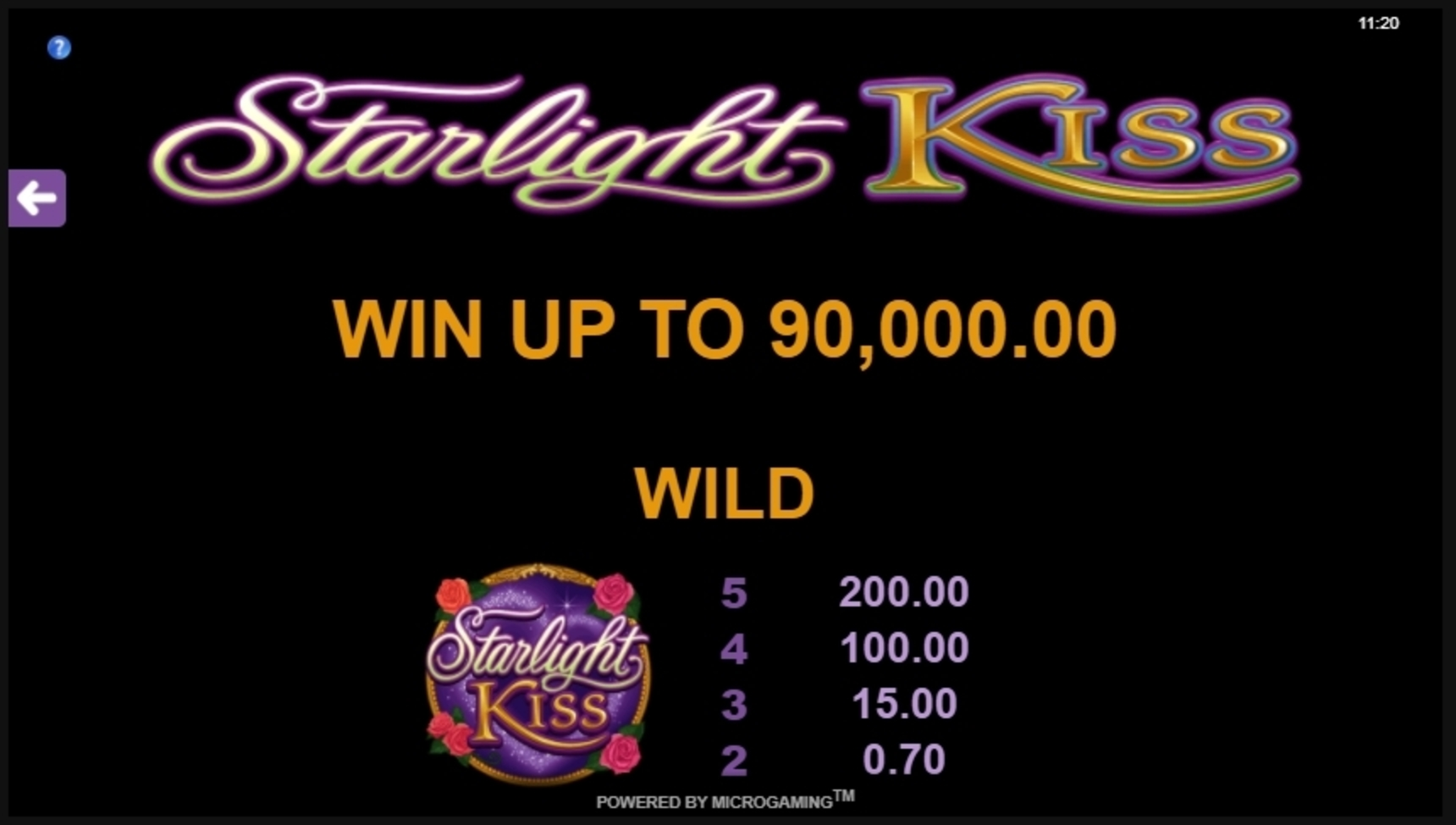 Info of Starlight Kiss Slot Game by Microgaming