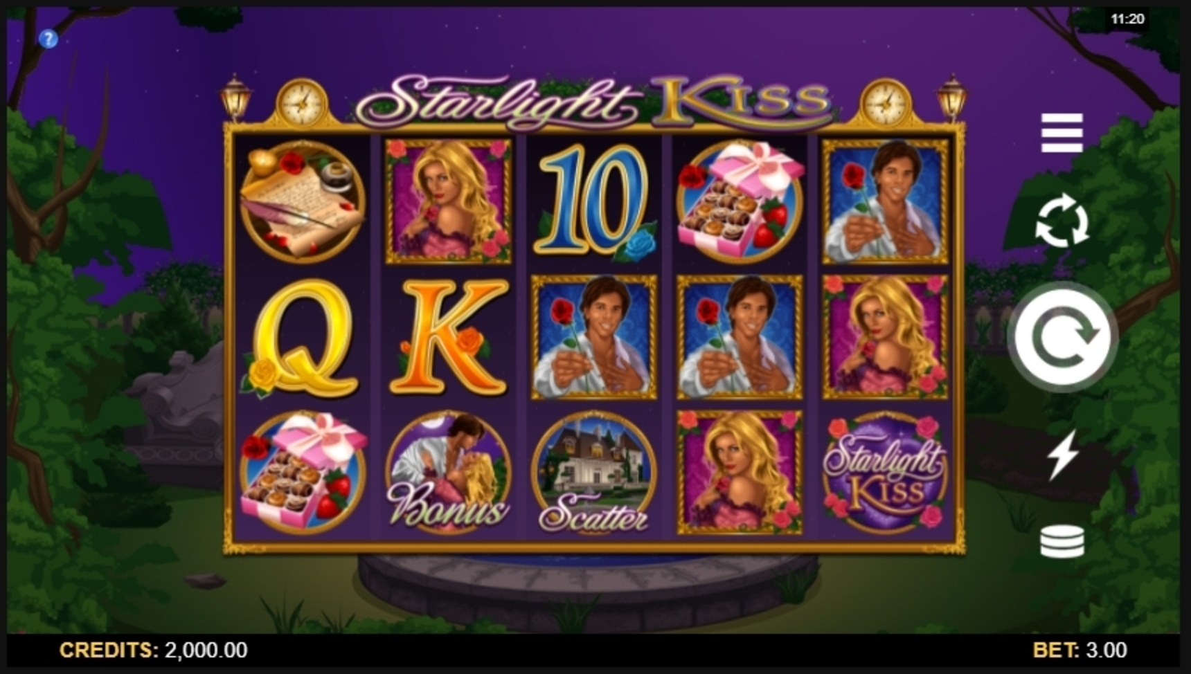 Reels in Starlight Kiss Slot Game by Microgaming