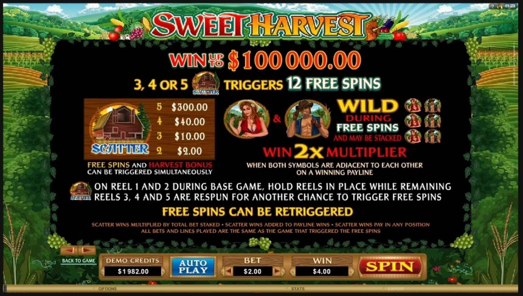 Info of Sweet Harvest Slot Game by Microgaming