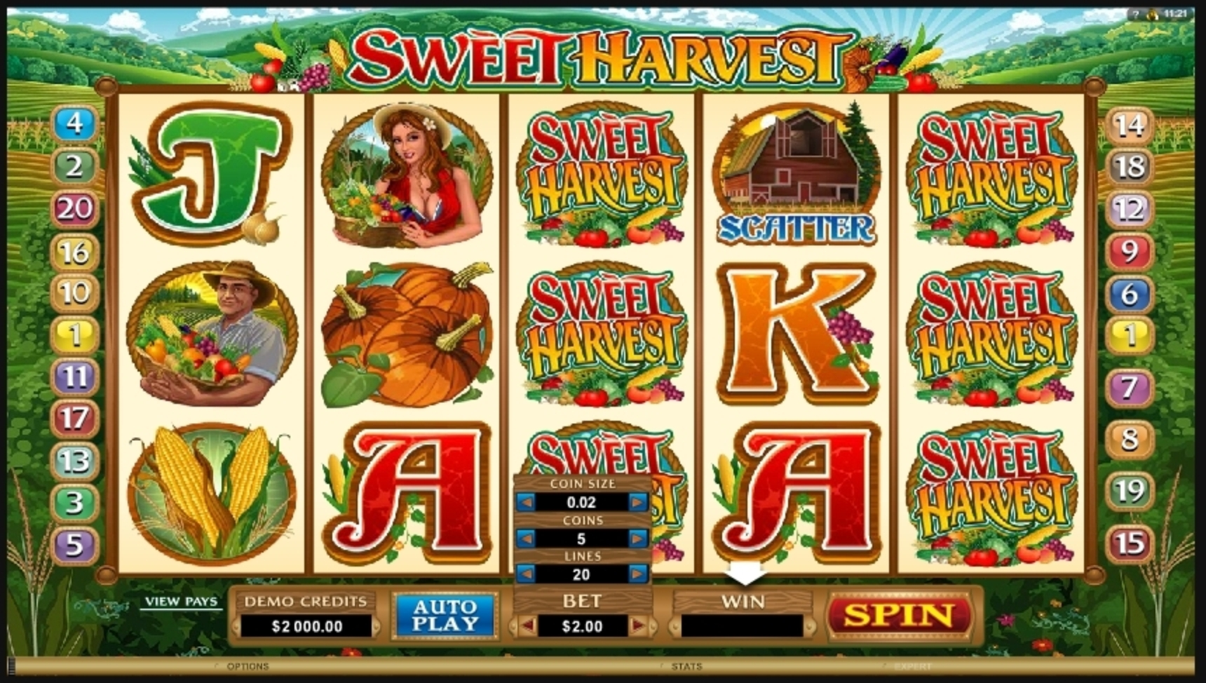 Reels in Sweet Harvest Slot Game by Microgaming