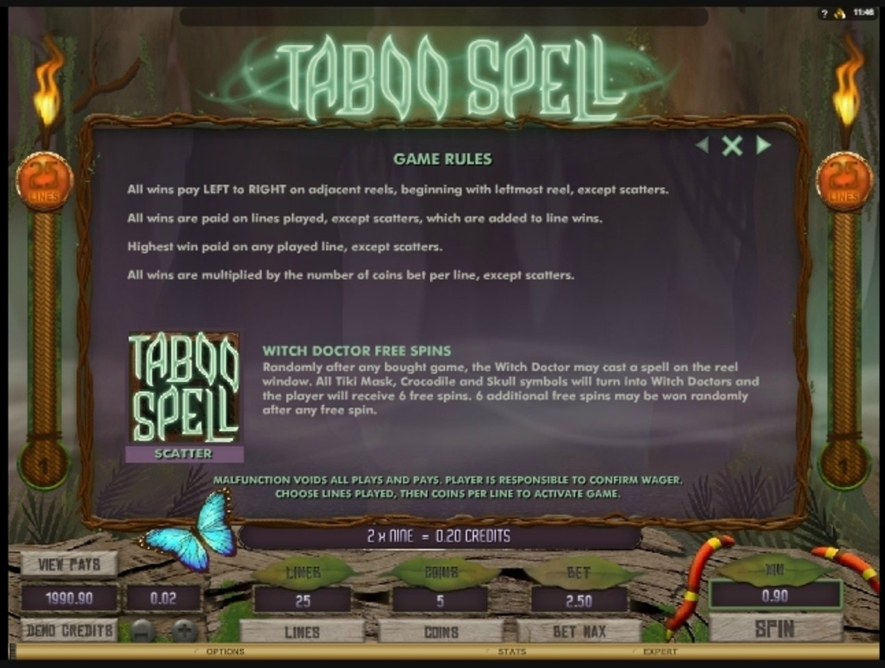 Info of Taboo Spell Slot Game by Microgaming