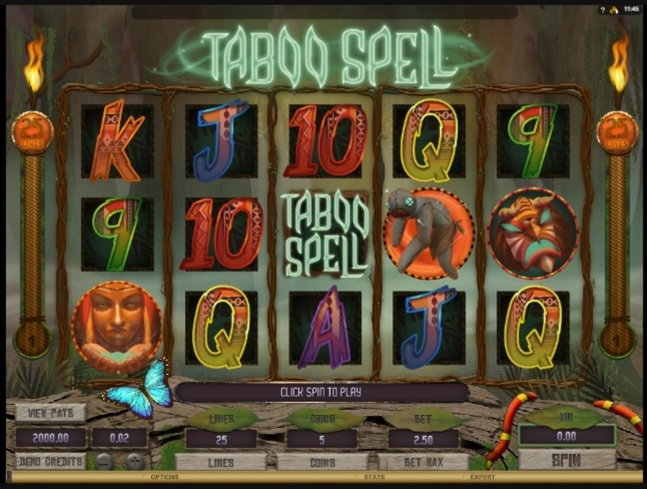 Reels in Taboo Spell Slot Game by Microgaming