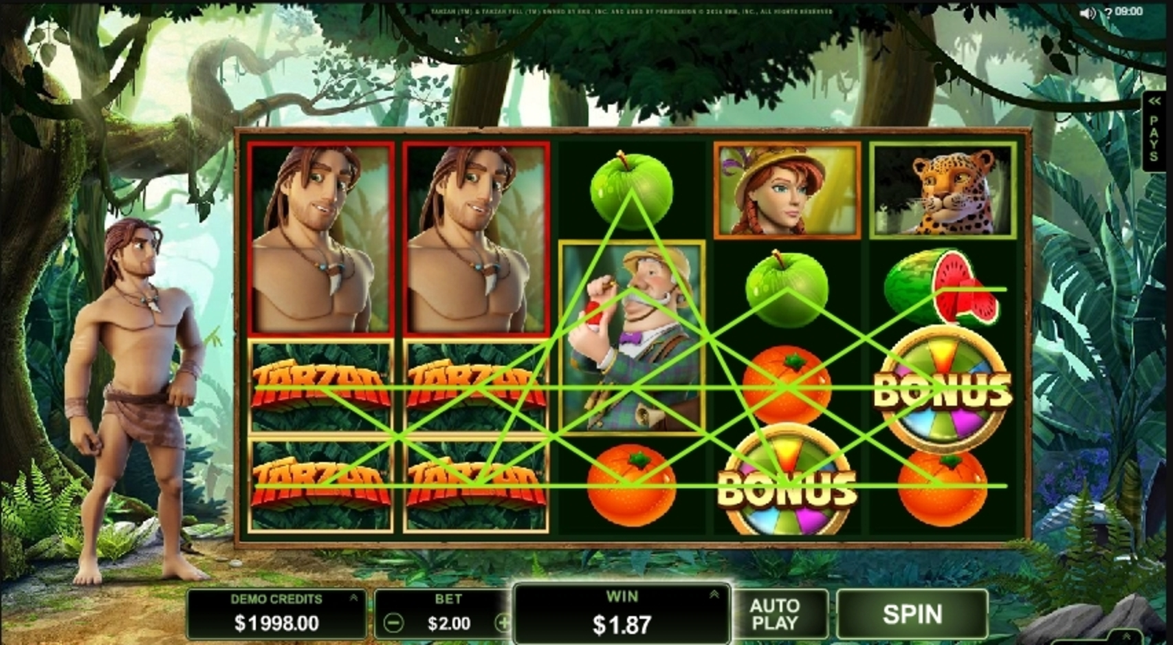 Win Money in Tarzan Free Slot Game by Microgaming