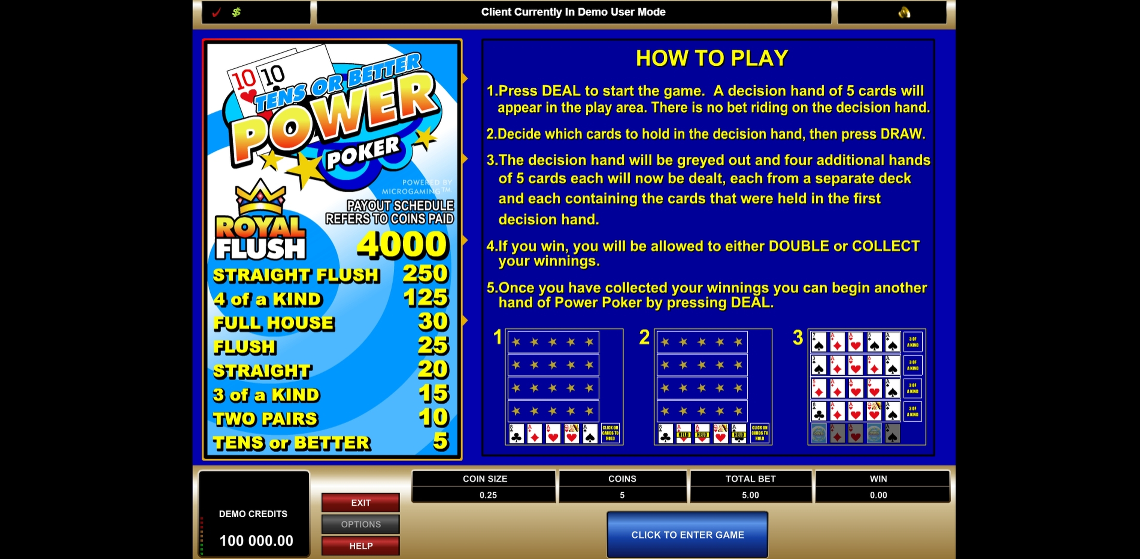 Play Tens or Better Power Poker Free Casino Slot Game by Microgaming