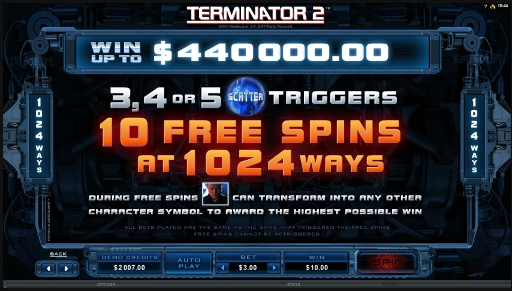 Info of Terminator 2 Slot Game by Microgaming