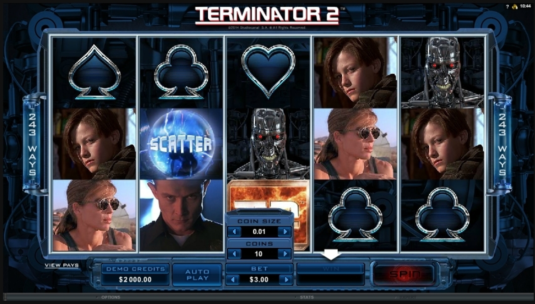 Reels in Terminator 2 Slot Game by Microgaming