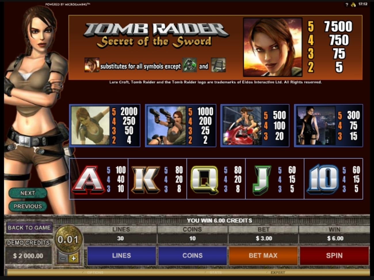 Info of Tomb Raider Secret of the Sword Slot Game by Microgaming