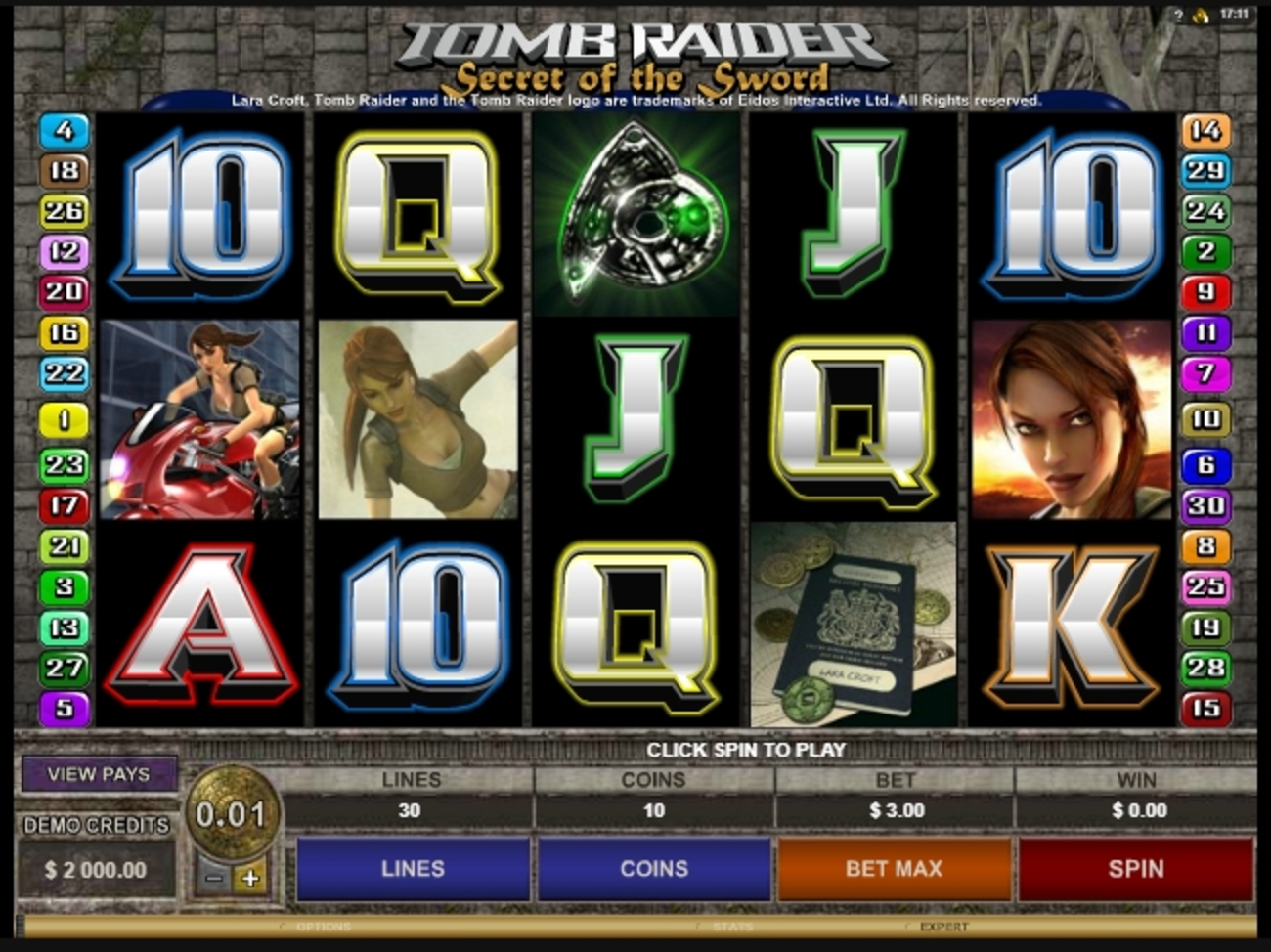 Reels in Tomb Raider Secret of the Sword Slot Game by Microgaming