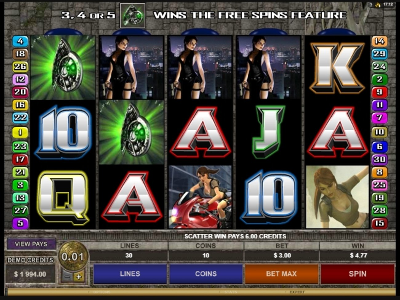 Win Money in Tomb Raider Secret of the Sword Free Slot Game by Microgaming