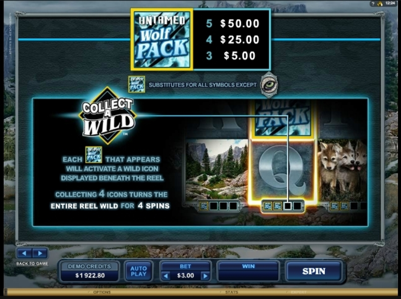 Info of Untamed Wolf Pack Slot Game by Microgaming