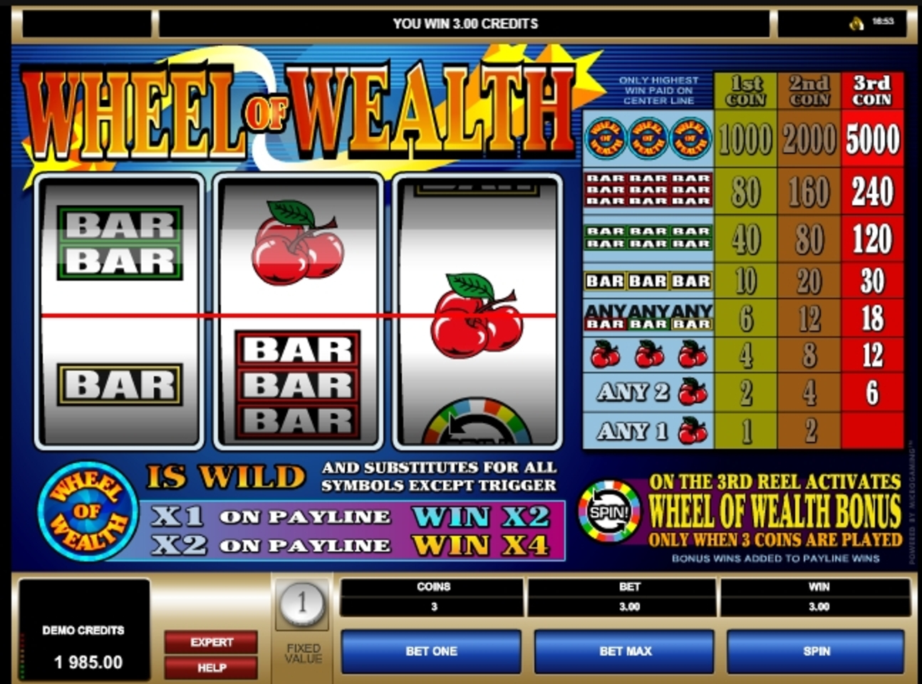 Win Money in Wheel of Wealth Free Slot Game by Microgaming