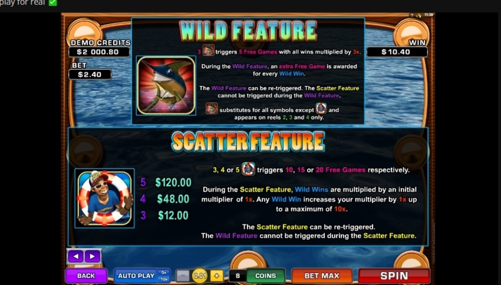 Info of Wild Catch (Microgaming) Slot Game by Microgaming